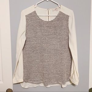 Ann Taylor Loft Mixed Media Sweater-Front Blouse